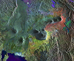 Virunga Mountains (europeanspaceagency) Tags: africa volcano rwanda uganda radar earthfromspace nyiragongo envisat virungamountains nyamuragira