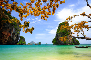 Tropical beach with limestone rock, Krabi, Thailand