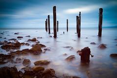 Myponga Poles (Steven Johnson Photography) Tags: longexposure seascape rocks jetty myponga