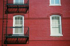 Escape (Todd Evans) Tags: windows red brick film ga georgia iron minolta kodak fireescape ladder 135 canton maxxum ultramax 650si