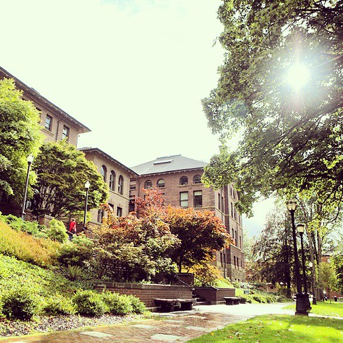 Perfect Northwest weather for students' first day back: Rain all day but with ample sunbreaks.