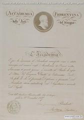 Eugenio Prati Diploma Accademia di Firenze a Eugenio Prati per il primo premio 1868