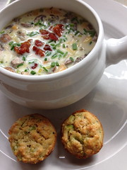 Clam Chowder with mini Oatmeal muffins (square one studio) Tags: winter mushrooms soup baking oatmeal butternutsquash chives clamchowder leeks minimuffins jacquespepin lastdayof2013 pancettacroutons