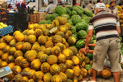 Melon stall (stevefge) Tags: people turkey market melons fethiye fetiye stphotographia