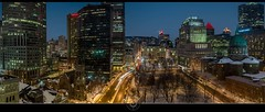 Place du Canada, Montral Panorama (jean271972) Tags: city winter panorama snow canada building church night cityscape view montral cathedral montreal pano hiver cathdrale qubec neige bluehour nuit vue dri eglise ville downtow placevillemarie sunlifebuilding mariereinedumonde digitalblending placeducanada heurebleue lumiereslights jean271972