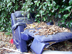 The Old Blue Recliner (See El Photo) Tags: old blue green abandoned leaves trash digital vines chair seat rip ripped samsung ivy litter sidewalk fallen sit damage torn tear busted curb recliner broke putyourfeetup