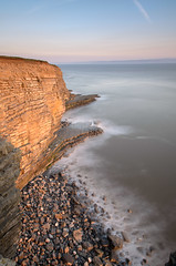 Glamorgan Cliffs (Kenneth Cox) Tags: heritage wales point coast rocks waves cut platform wave severn glamorgan nash goldenhour risingtide marcross