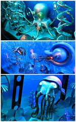 Inorganic Creatures (John 3000) Tags: california blue fish art collage azul aquarium bay monterey triptych arte octopus machines mech octopi tentacles cephalopods