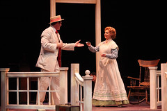 """Patrick Cassidy and Shirley Jones as Harold Hill and Mrs. Paroo in the Music Circus production of """"The Music Man"""" at the Wells Fargo Pavilion July 31 - Aug 5. Photo by Charr Crail."""
