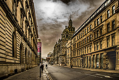 South Frederick Street Glasgow Original (Brian Travelling) Tags: southfrederickstreet glasgow original arty mono straightroad converginglines perspective people sandstone stone tenement flats appartments citychambers sky skyscape skyline clouds cloud