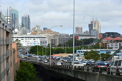 From the South Eastern end of Anzac bridge - View of the western Distributor Highway going into Ultimo - Pyrmont  (Sydney NSW Australia) (nicephotog) Tags: rozelle glebe lilyfield ultimo pyrmont sydney nsw road traffic ramp bridge skyscraper cbd tower top skyline cityscape scenic panorama view apartment high rise