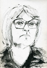 Maureen ~ live, via Skype (Gila Mosaics n'stuff) Tags: portrait art female glasses artist skype portraitparty jkpp inkchopstick