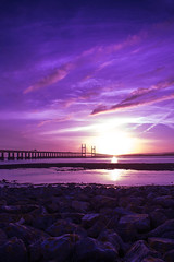 Severn Crossing (Martin Allen Photography) Tags: bridge sunset river bristol crossing severn