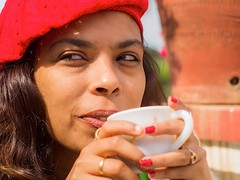 Got the coffee (Picsnapr) Tags: flowers red green coffee fashion model eyes flora photographer terrace balcony harem homestay flowery