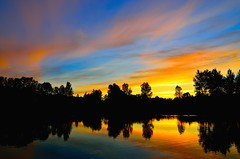 Sunset (JSB PHOTOGRAPHS) Tags: blue sunset red color yellow pond eugeneoregon altonbakerpark autzenstadium dsc7278