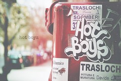 hot boyz (TIBBA69) Tags: street old red mailbox canon vintage colours bokeh stickers scratches retro rosso colori graffi sfuocato andreatiberini