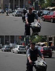 [La Mia Citt][Pedala] (Urca) Tags: portrait italia milano ciclista bicicletta 5661 pedalare 2013 dittico ritrattostradale nikondigitalefilippetta