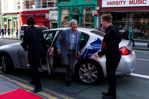 Derek Malcolm arriving on the red carpet for Breathe In