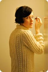 Woman in aran jersey (Mytwist) Tags: woman wool vintage sweater cream jersey jumper knitted aran pullover handcraft moncheriblogg
