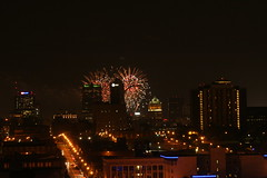 Downtown Fireworks (pasa47) Tags: city summer downtown fireworks stlouis july mo missouri independenceday stl grandcenter cityofstlouis 2013 stlouisskyline centralcorridor