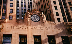 Board of Trade (vonderauvisuals) Tags: lighting street old windows urban chicago money color building clock film look architecture photoshop canon buildings cool warm downtown mood shadows post shots good unique board famous grain perspective landmark 7d processing environment lasalle tall feeling visuals capture trade financial grading institution correction emulation chicagoist traders vonderau vsco