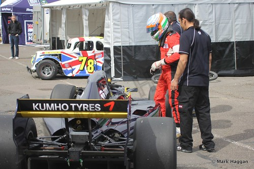 Narain Karthikeyan in the paddock during the Auto GP event at Donington Park