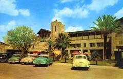 Arizona Biltmore Hotel Patio Entrance Phoenix AZ (Edge and corner wear) Tags: cars vintage pc inn postcard parking lot motel cadillac lodge chrome 1950s motor autos automobiles oldsmobile