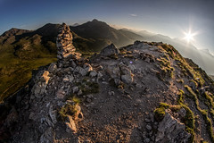 Morning star (Michel Couprie) Tags: panorama sun mountain france alps montagne alpes canon eos star soleil fisheye 7d flare summit 8mm cairn risingsun levant sommet hautesalpes samyang grandmeyret