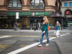Crossing (wwward0) Tags: street nyc newyork girl crossing unitedstates manhattan sunny starbucks crosswalk astorpl