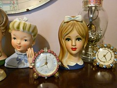 NEW GIRL (MissConduct*) Tags: pink blue house clock japan lady vintage illinois candy head cottage style collection walker jar vase catalog kit decor rhinestone searsroebuck phinney brachs missconduct caffco ladyheadvase phinneywalker oldglorycottage