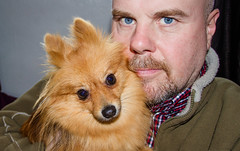 Eyes together. (CWhatPhotos) Tags: pictures camera portrait dog pet brown man male animal self canon that lens photography eos pom eyes holding foto image artistic zoom pics dwarf sandy picture pic images boo have photographs together photograph fotos 7d colored pomeranian coloured which spitz 1740mm contain pompom lseries zwergspitz cwhatphotos dwarfspitz