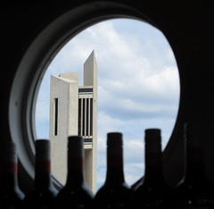 Wine bottles and a round window (spelio) Tags: canberra act boat cruise lake burley griffin australia carillon wine g12 fave