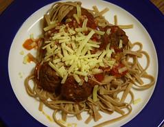 Spaghetti And Mini Meatballs... (dinner) (Michelle ~ Blacky ~ Champaz's Captures....) Tags: cheese pasta garlic onion springonions meatballs tomatosoup