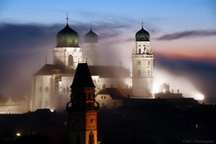 Foggy (RW Creative Studio) Tags: old city sunset church fog architecture night germany bayern bavaria town europe cathedral foggy nighttime citylights passau niederbayern citylight