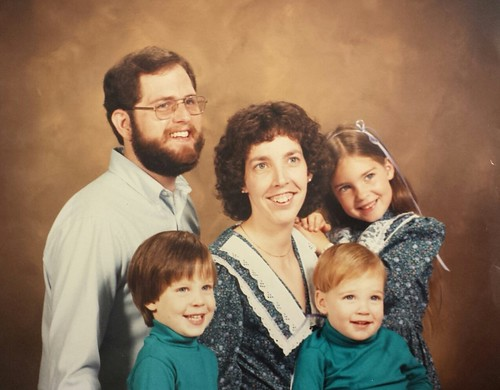 Brian Copeland, sons Jonathan and Caleb, wife Roxanne, and daughter, Kelli, circa 1986.