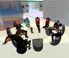 """Student tour of """"What information/literacy means to me"""" Plus discussion, 29 January 2014 (Sheila Yoshikawa) Tags: january research secondlife teaching 2014 informationschool sheffielduniversity informationliteracy sheilayoshikawa infolitischool"""