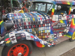 Sock it to me..or is it 'Put a sock on it'...? (whymcycles) Tags: auto old ford car wheel scarf sedan modela tin cozy rainbow sock automobile recycled antique board spoke running lizzie tudor blanket recycle argyle loud muffler whimsical lizzy 1930 ratty koozy blanketed yarnbomb koozied