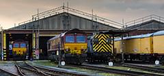 Class 66/0 no's 66070 & 66172 with class 09/2 no 09201 at DB Knottingley Depot on 19-02-2014 (kevaruka) Tags:
