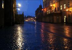 Wet and cold (*Kicki*) Tags: riddarholmen stockholm sweden rain bluehour lheurebleue blåtimmen rainy explore flickrexplore explored drizzle night sidewalk pavement architecture city street