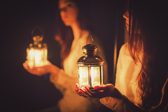 the last candle (luce_eee) Tags: light reflection girl mirror candle lantern