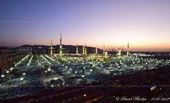 Morning twilight view over the Prophet's Mosque (Ahmad Mortaja) Tags: people architecture night photography worship view shot god minaret islam prayer religion eid mosque dome million medina muslims majestic ramadan prayers  allah mosques prophets  worshipers          eidalfitr          medinalive