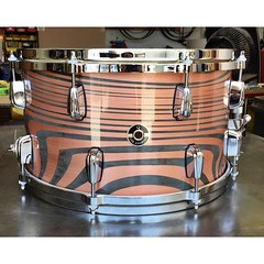Can't believe we forgot to post a photo of this snare drum. Built to match a copper set we built recently, this is an 8X14 Copper Plate snare drum. Very much a beast of a drum. #qdrumco #copper #snare