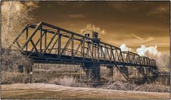 Railroad Bridge (NoJuan) Tags: bridge railroadbridge railroad railway olympusep5 olympus1250mmf3563 infrared infraredconversion microfourthirds micro43 micro43infrared pacificnorthwest washingtonstate sedrowooley hwy9 skagitriver