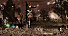 Railroad Crossing At Arranmore (Simon Sonnenblume) Tags: arranmore hplovecraft secondlife selfie virtualworld railroad