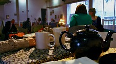 Nexus, today 24.5.13 (coracies) Tags: light shadow food cute art girl vintage table manchester cafe day hand arm tea plate best mug finished teapot tablecloth nexus patterned