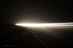 Trail through the fog (Sir Mashington the 27th) Tags: new mist car misty fog wales night rural long exposure traffic south foggy trails australia nsw penrith castlereagh