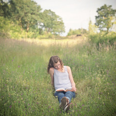 summer reading (after october) Tags: summer film girl oregon mediumformat reading pacificnorthwest wildflowers oregoncity fujisuperia400 hasselblad500cm bookfield