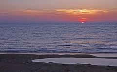 Disappearing sun - View from a Lemnos Beach (Sony RX100) (markdbaynham) Tags: light sunset sea cloud colour beach island greek sony hellas greece hazy limnos hellenic lemnos rx100