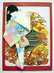 ATC1248 - Visiting the pagoda (tengds) Tags: flowers blue red orange white black green atc bag pagoda geisha kimono obi lightgreen papercraft japanesepaper washi ningyo handmadecard chiyogami yuzenwashi japanesepaperdoll origamidoll nailartsticker tengds