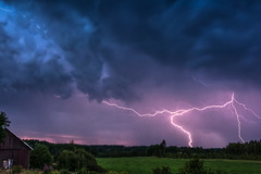 Thunder (Appe Plan) Tags: above trees light cloud storm nature field barn forest dark landscape countryside big scary nikon view wind sweden cell crack bolt electricity huge lightning thunder meteorology värmland flashe supercell appe discharging d700